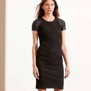 Lauren RL denim faux leather sheath dress NEW